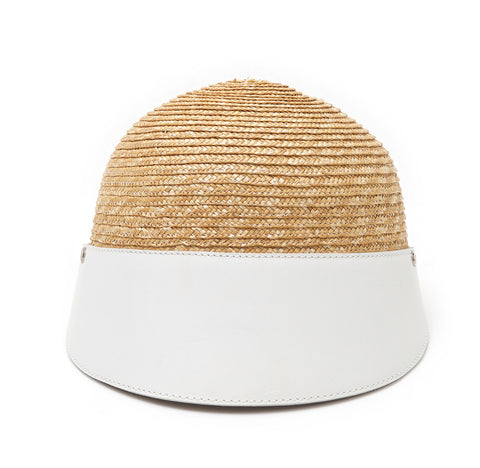 LEATHER CLOCHE WHITE I HAT