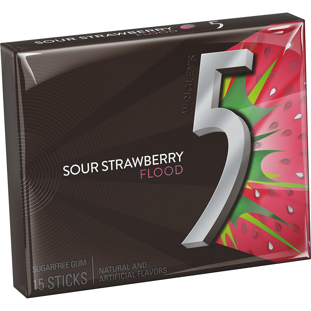 5 Gum Strawberry Flood 10 x 15 Sticks