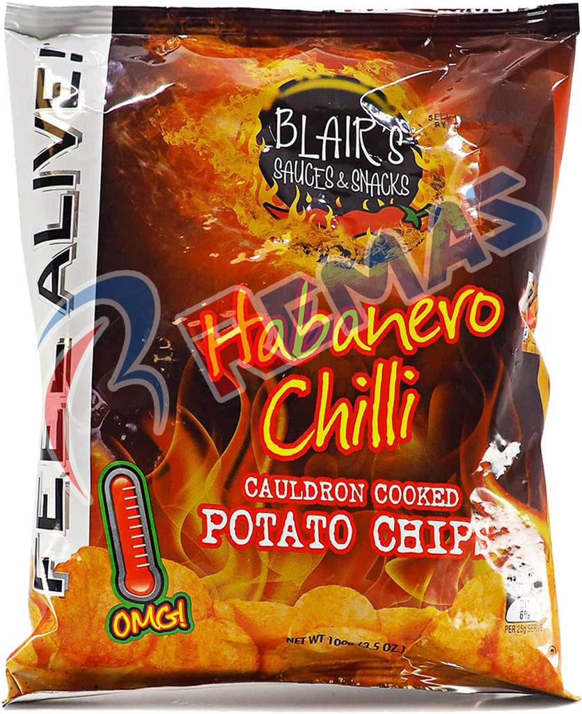 US Chips Blair's Habanero Chilli Potato Chips 100g x 20 Bags