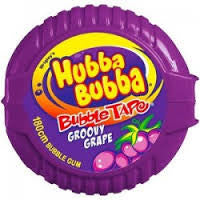 Hubba Bubba Tape Grape Gum 56.7g X 12 Units