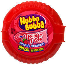 Hubba Bubba Tape Strawberry Gum 56.7g X 12 Units