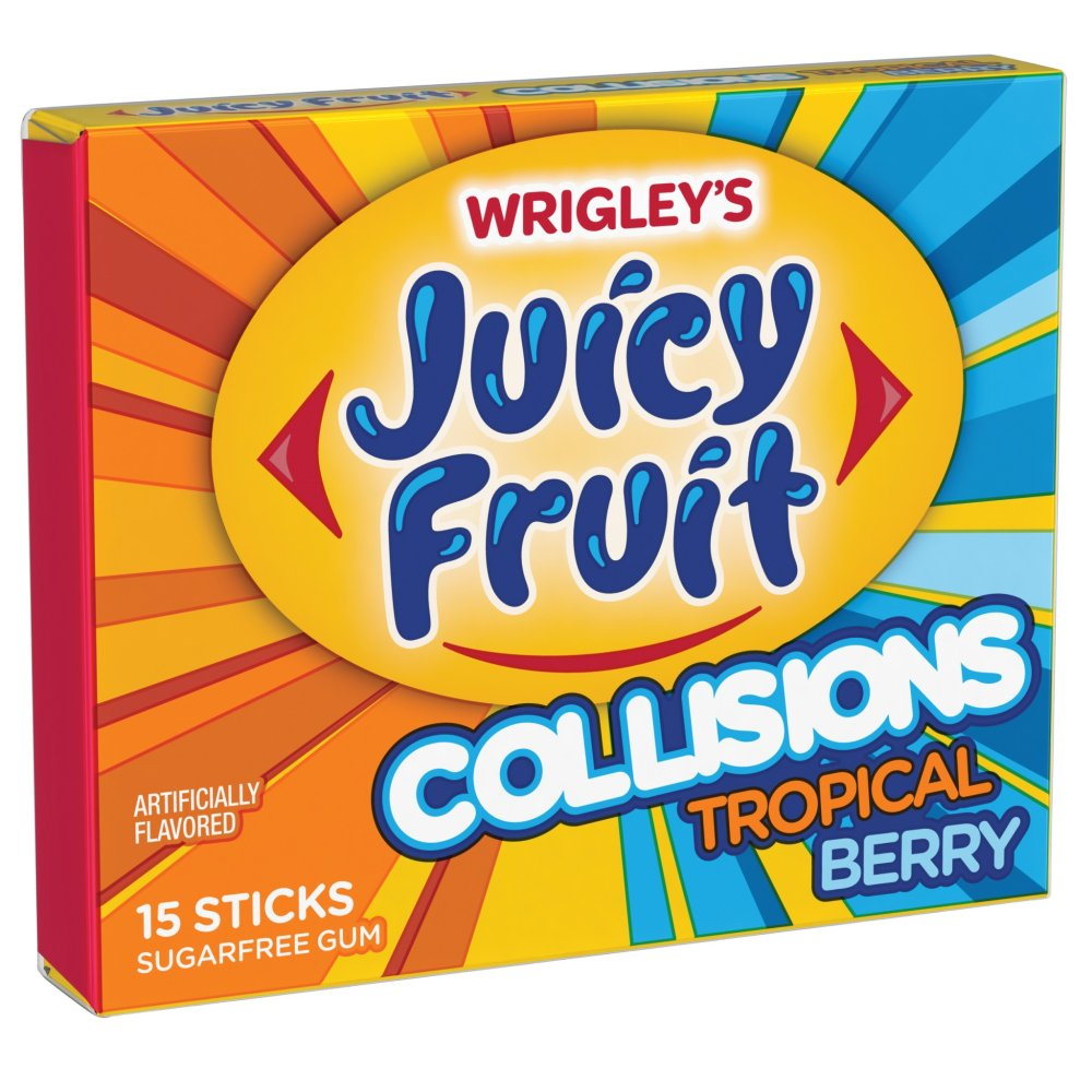 U.S Gum Juicy Fruit Collisions Tropical Berry 10 x 15 Sticks