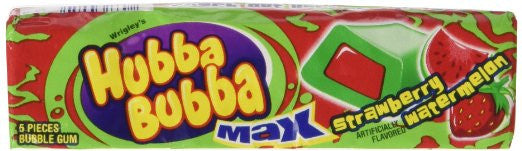 USA Hubba Bubba Strawberry & Watermelon Gum 18 X 5 Sticks