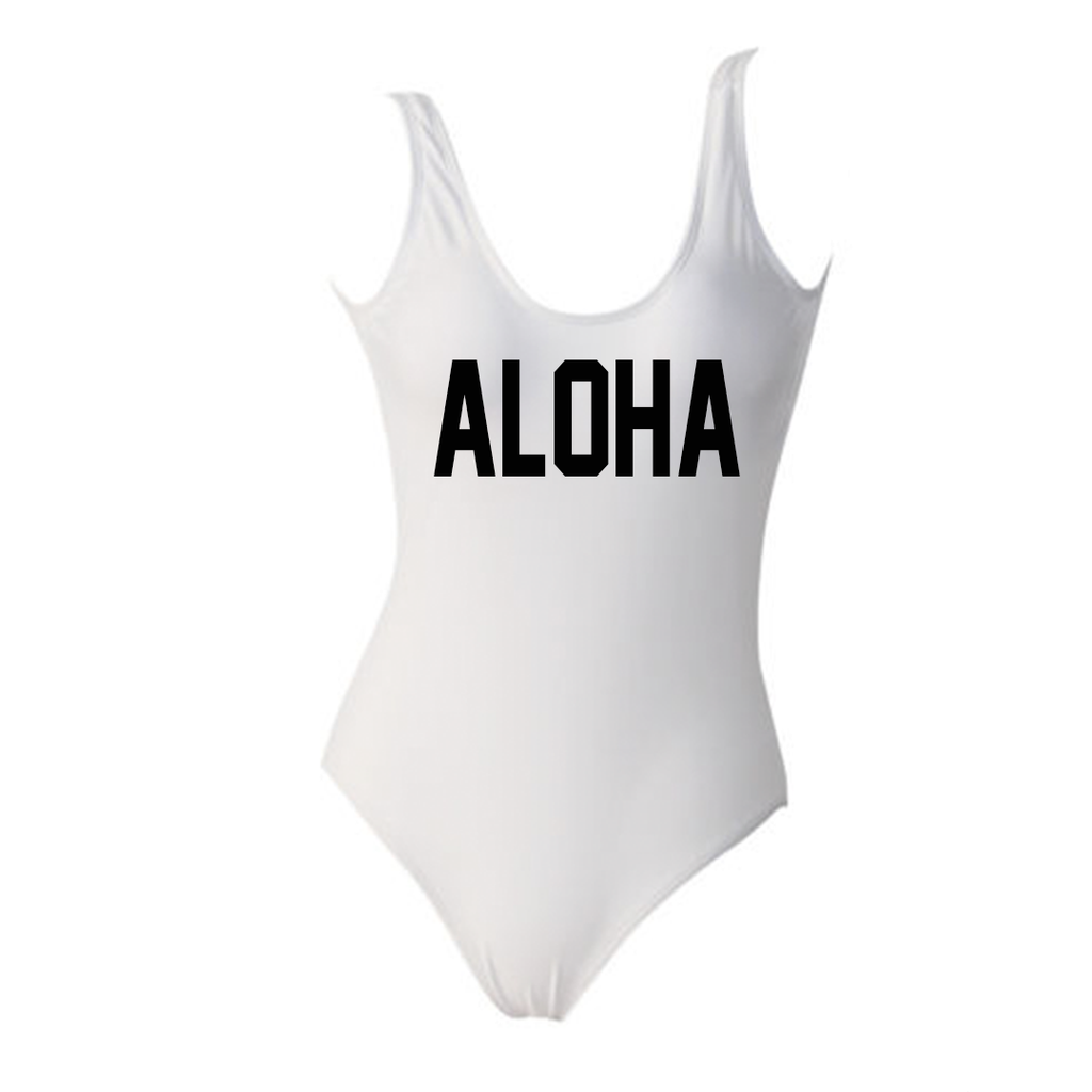 Aloha White One Piece Monokini Swimsuit
