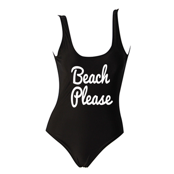Beach Please Black One Piece Swimsuit