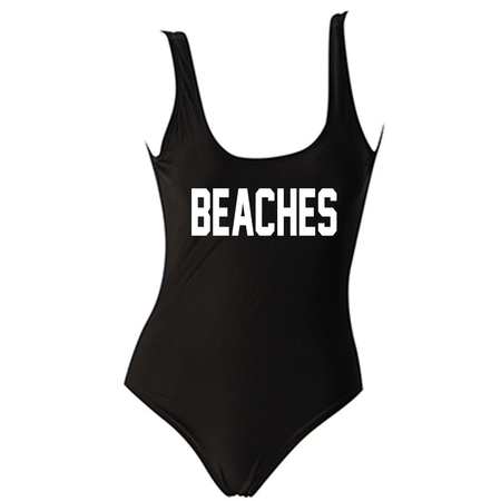 Champagne Campaign Black One Piece Swimsuit