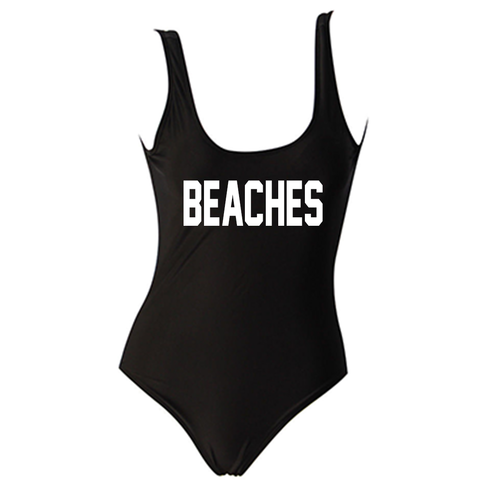 Beaches Black One Piece Monokini Swimsuit