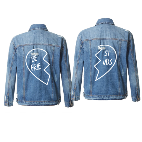 Best Friends Mid-Wash Distressed Denim Jackets