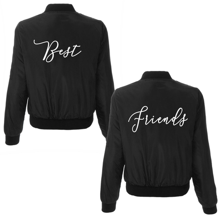 Custom Text Womens Black Bomber Jacket