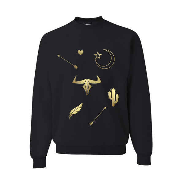 Black Slouchy Pullover with Gold Moon and Stars Sweatshirt