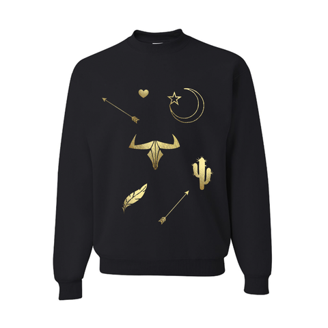 Boho Moon and Stars Gold and Black Slouchy Pullover Sweatshirt