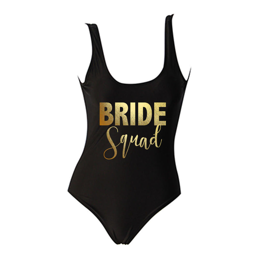 9ec745bf6f BRIDE SQUAD Gold Text Black One Piece Swimsuit – ADashOfChic