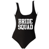 BRIDE SQUAD White Athletic Text Black One Piece Swimsuit