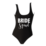 Bride Squad White Text Black One Piece Swimsuit