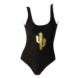 Gold Prickly Cactus Pasties One Piece Swimsuit