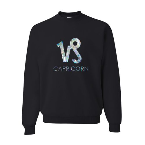 Zodiac Astrology Horoscope Sweatshirt with Holographic/ Iridescent Sign