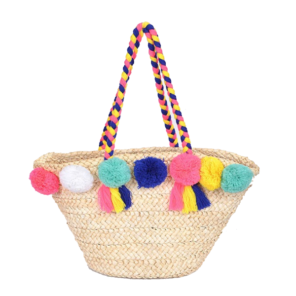 Straw Pom Pom Beach Bag