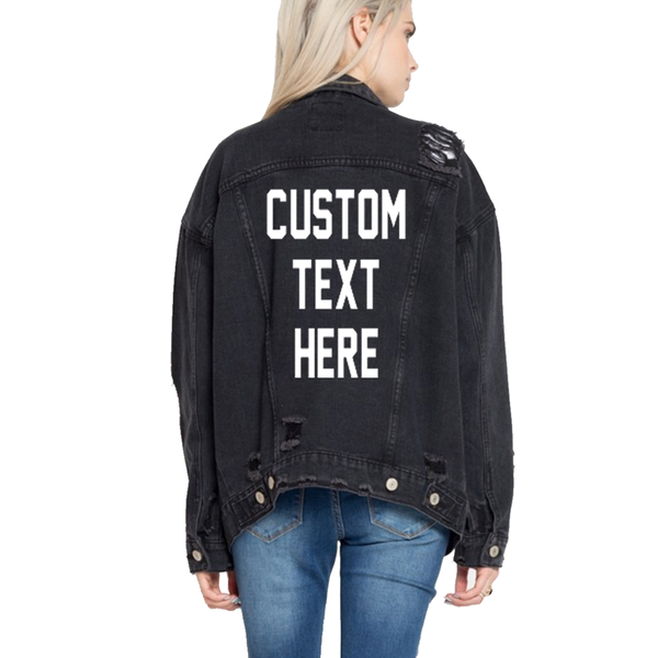 Custom Text Black Denim Jacket