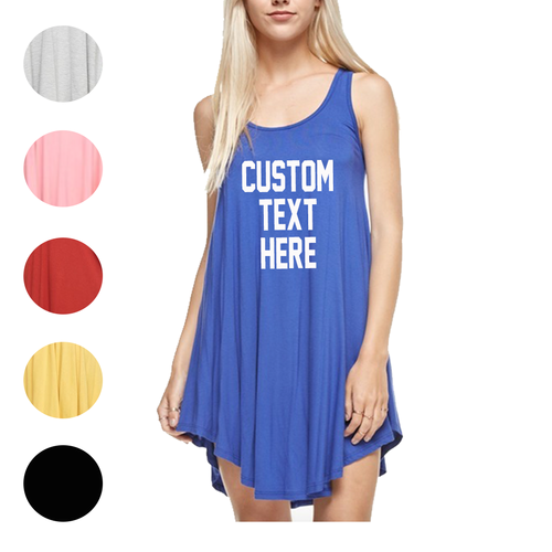 Custom Text Flowy Tunic Beach Dress