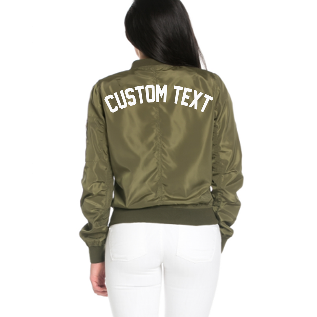 5445e4da313fb Custom Text Womens Olive Green Bomber Jacket