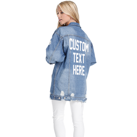 Custom Text Distressed Long Denim Jacket