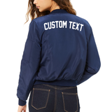 Custom Text Womens Navy Bomber Jacket