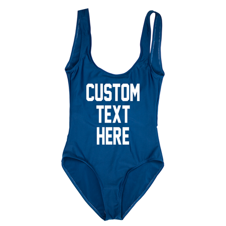 Custom Text White High Waisted Bikini Swimsuit