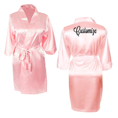 Custom Light Pink Satin Robe