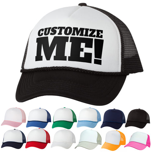 Custom Text Five Panel Foam and Mesh Trucker Hat