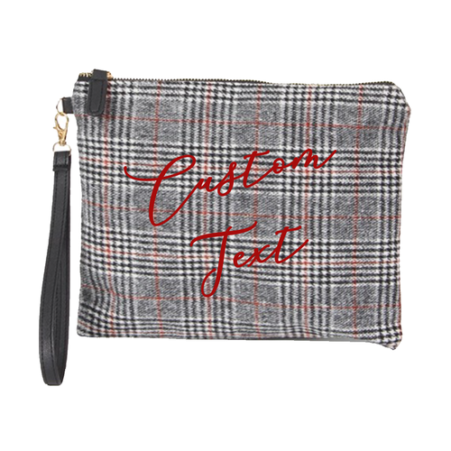 Custom Text Black and Red Plaid Clutch Bag