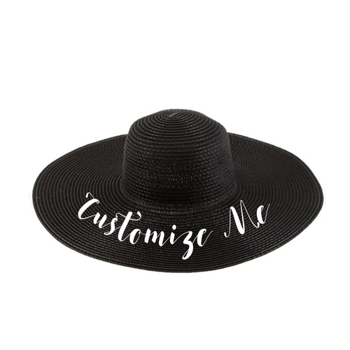 Custom Text Black Beach Straw Hat