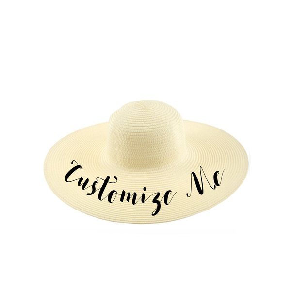 Custom Text Cream Natural Beach Straw Hat
