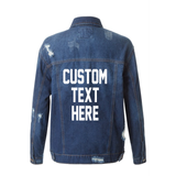 Custom Text Distressed Dark Denim Jacket