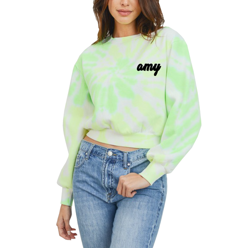 Custom Text Neon Green Crop Tie Dye Sweatshirt