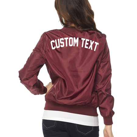 WOMENS CUSTOM Pink Varsity Bomber Jacket- Long Sleeve Zip Up Light Pink Varsity Sports Jacket- Lightweight Bomber- Customize Varsity Jacket
