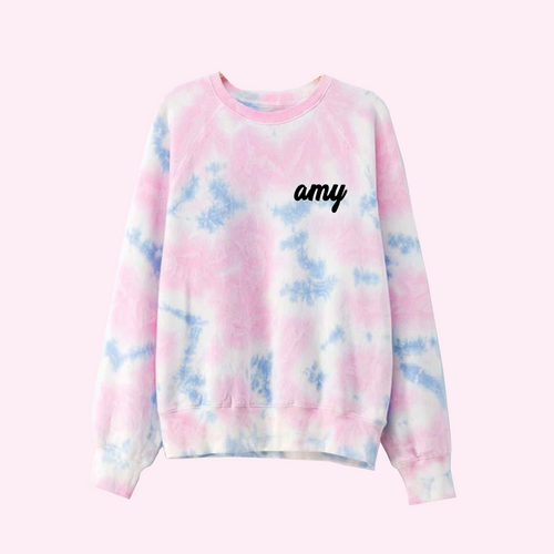 Custom Text Pink and Blue Tie Dye Sweatshirt