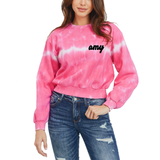 Custom Text Bright Pink  Crop Tie Dye Sweatshirt