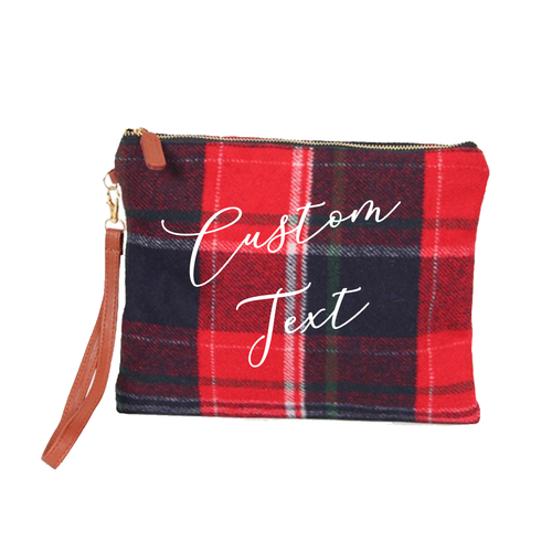 Custom Text Red and Navy Plaid Clutch Bag