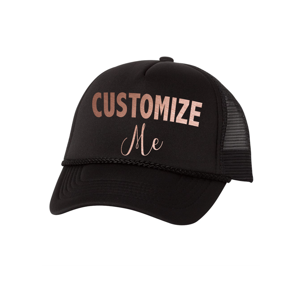Custom Text ROSE GOLD Foam and Mesh Adjustable Trucker Hat, Black or White Hat