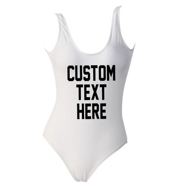 Custom Text White One Piece Swimsuit *