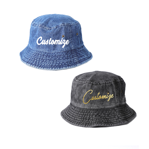 Custom Denim Blue or Black Bucket Hat