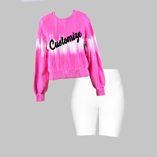 Hot Pink Tie Dye Crop Sweatshirt and White Biker Shorts Set