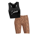 Custom Text Black Crop and Leopard Shorts