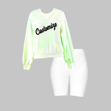 Neon Green Tie Dye Crop Sweatshirt and White Biker Shorts Set
