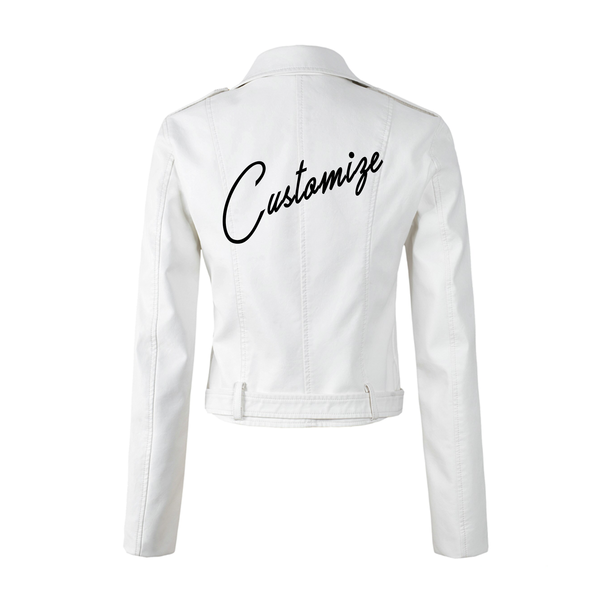 Custom Text White Crop Leather Jacket
