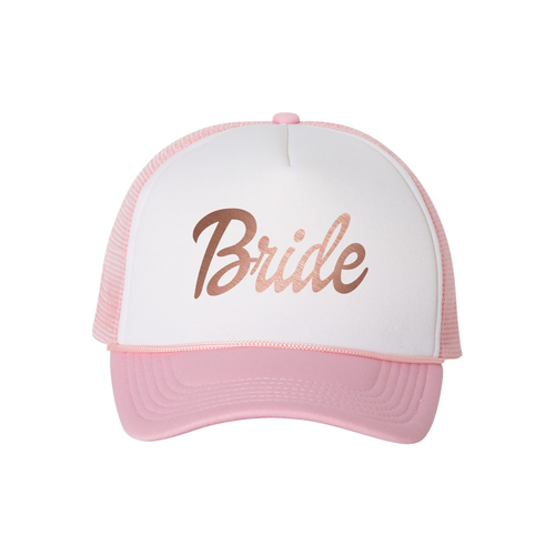 Bride Pink and White Trucker Hat w Rose Gold