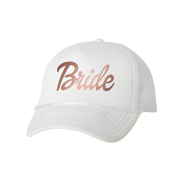 Bride in All White and Rose Gold Trucker Hat