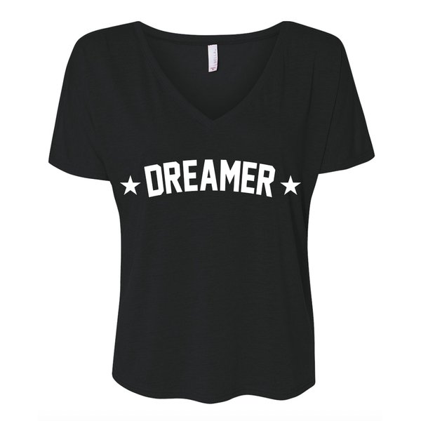Dreamer Star Black Flowy V-neck T-shirt