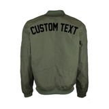 Custom Text Mens Olive Bomber Jacket