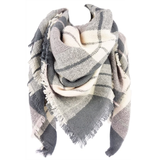 Grey and White Checkered Plaid Scarf